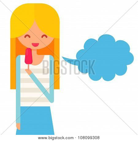 Smiling girl with blonde hair eats icecream and talk via speech bubble. flat vector illustration wit