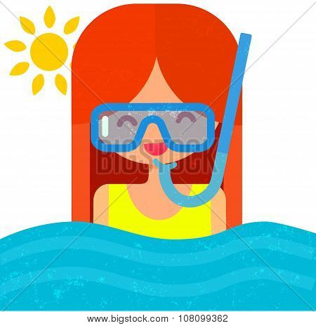 girl in diving mask with snorkel. Swimming in blue water. Summer flat vector illustration with cute