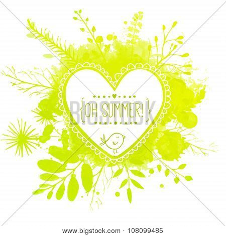 White hand drawn heart frame with doodle bird and text oh summer. Green watercolor splash background