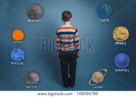 Teenage boy standing with his back planets of the solar system a