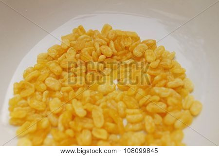 Soybeans In White Plate On Wood Table.