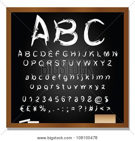 Vector concept or conceptual set or collection of white handwritten, sketch or scribble font isolated on blackboard black background