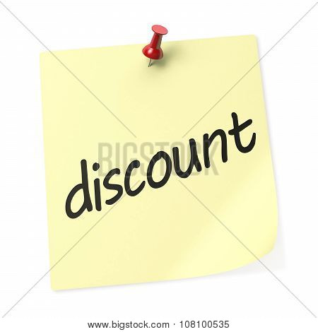 Discounts Yellow Sticky Note