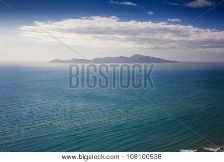 green hills and sea landscape