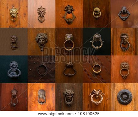 Collage of a variety of knockers and handles on doors in Rome, Italy.