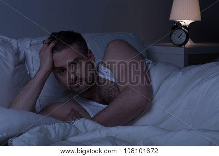 Slepless Man Awake In Bed
