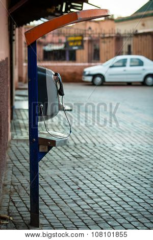 Payphone On The Street In Marrakech