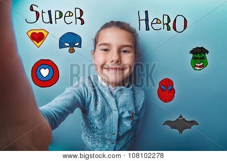 hand girl smile super hero super power at the photo studio Icon
