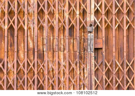 Antique Slide Steel Locked Shutter Door, Texture Background