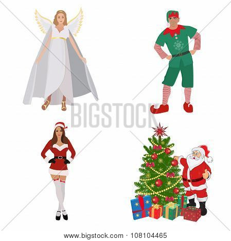 Guardian angel, elf, Santa, helper girl, Christmas set, vector illustration