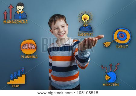 Teenage boy laughing and holding in the palm collection of busin