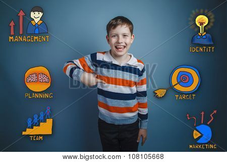 Teenage boy laughing and showing his finger down a collection of