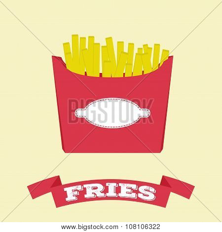 Flat Fries In Box Vector Fast Food Icon