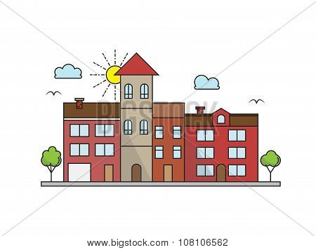 City Landscape Linear house Buildings