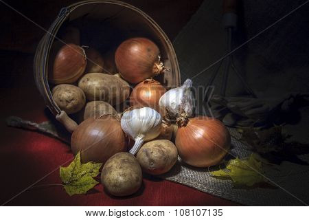 Harvest Of Onions, Potatoes, And Garlic.