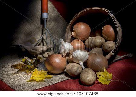 Overturned Basket Of Fresh Vegetables.