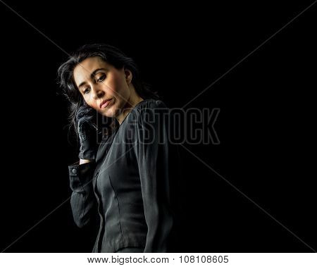 Woman In Black Using Cell Phone