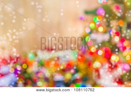 Blur Christmas Ornaments  And Vary Of Decoration On Wood Background.