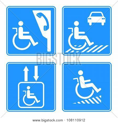 Disabled Person Warning Sign, Handicap Sign Type, Illustration Vector