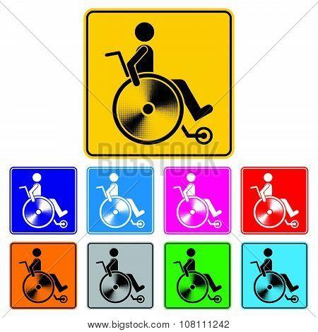 Disabled Person Warning Sign, Handicap Sign Set, Illustration Vector