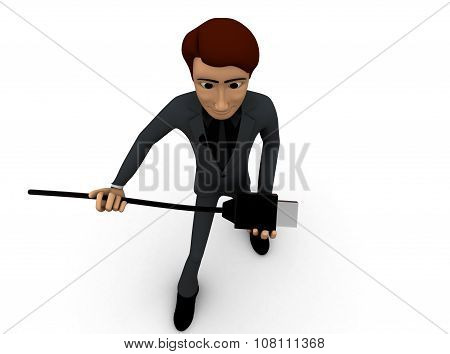 3D Man Holding Usb Cable In Hands Concept