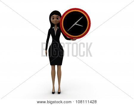 3D Woman Holding Time Piece In Hands Concept