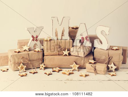 Christmas Card. Christmas Cookie And Gifts With Wooden Decoration Letters - Xmas. Vintage Stile.