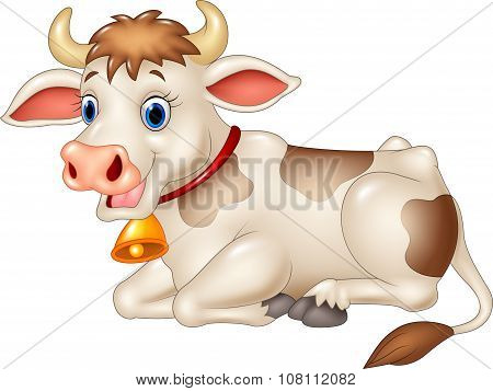 Cartoon funny cow sitting isolated on white background