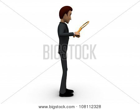 3D Man Searching With The Help Of A Magnifier Concept