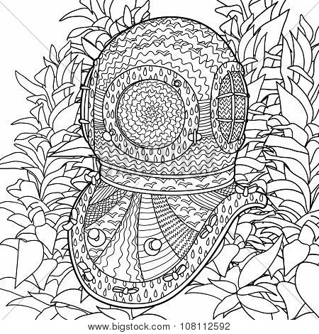 Divers helmet in coloring pages for adults.
