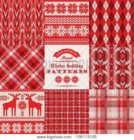 Christmas And New Year Set. Plaid And Knitted Seamless Backgrounds.