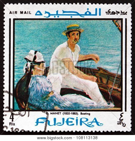 Postage Stamp Fujeira 1968 In The Boat, By Manet