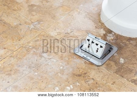 Electric Plug Sockets Set Up On The Floor
