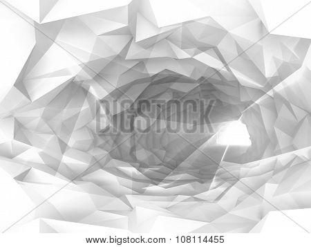 Shining White Tunnel Background With Crystal Relief