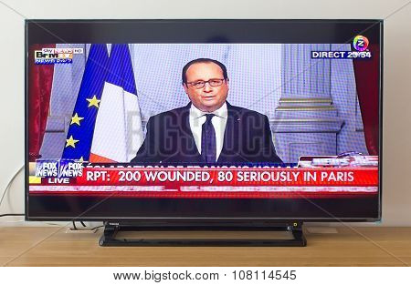 BANGKOK THAILAND - NOV 14 2015: Francois Hollande at Fox News Speech Live About the Terrorist Attack