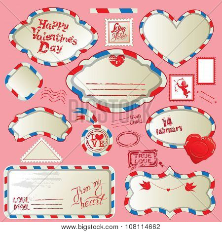 Borders In Post Mail Style With Handwritten Calligraphic Text Happy Valentines Day, Design Elements