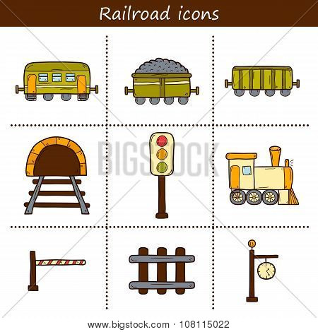 Railroad hand drawn icons