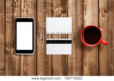 Business Card, Plastic Card And Cell Phone Mock-up