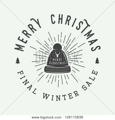 Vintage Merry Christmas Or Winter Sales Logo, Emblem, Badge, Label And Watermark In Retro Style