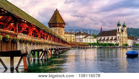 Panoramic View Of The Chapel Bridge In Lucerne, Switzerland