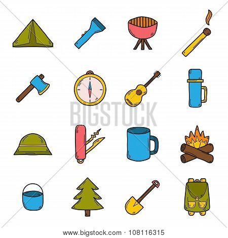 Hand drawn camping icons