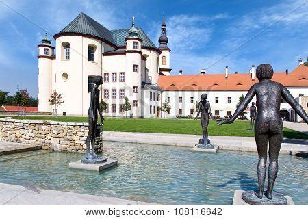 Temple Of Holly Cross Finding, Piarist Cloister´s Gardens, Castle Litomysl (unesco), Czech Republic