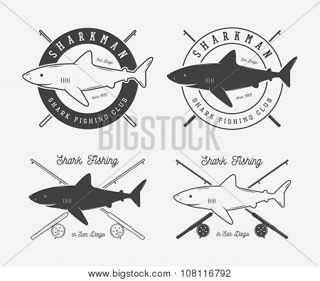 Set Of Vintage Fishing Labels, Logo, Badge And Design Elements. Vector Illustration