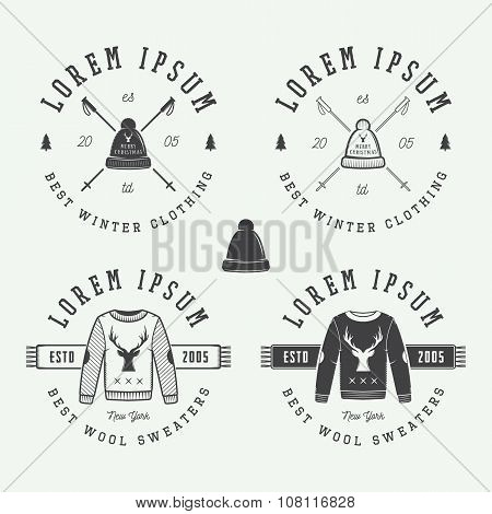 Vintage Merry Christmas Or Winter Clothing Shop Logo, Emblem, Badge, Label And Watermark