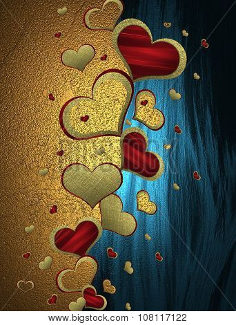 Golden And Blue Background With Patterned Hearts. Element For Design. Template For Design. Copy Spac
