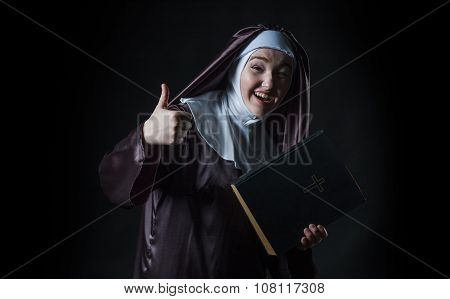 Nun Advertises Bible