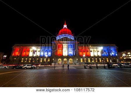 SAN FRANCISCO,US - NOV 13, 2015: City Hall of San Francisco turned on the light with french color for Terrorism Attack in Paris on Nov 13,2015 in San Francisco,US