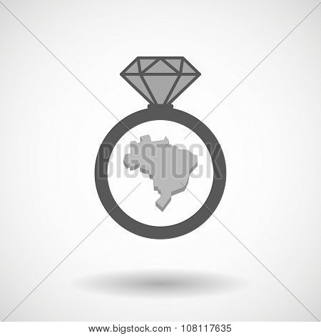 Isolated Vector Ring Icon With  A Map Fo Brazil
