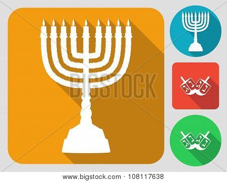 Hanukkah icons with menorah and dreidels. Flat long shadow design.