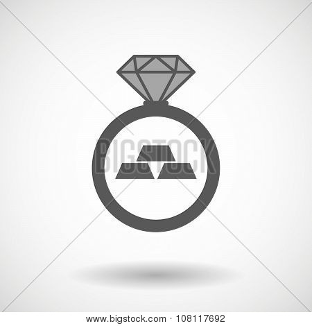 Isolated Vector Ring Icon With Three Gold Bullions